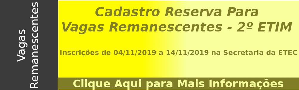 Vagas Remanescentes – ETIM 2020